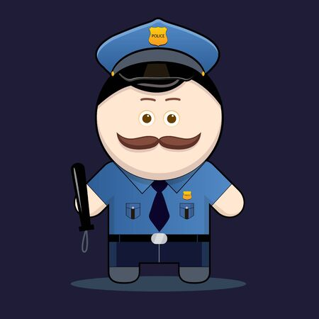 a cudgel: cute policeman with truncheon illustration cute character man with mustache collection