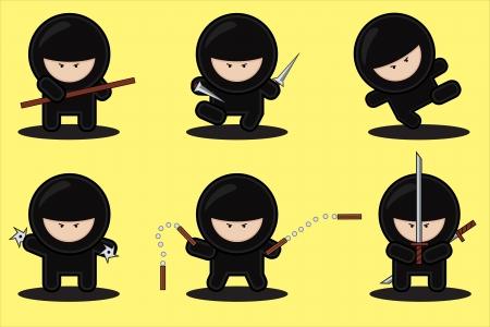 ninja: Reihe von niedlichen Ninjas