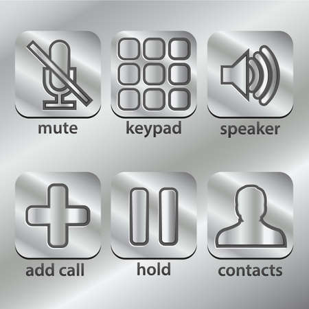 phone, communication icons on metal steel Button Collection Stock Vector - 18154397