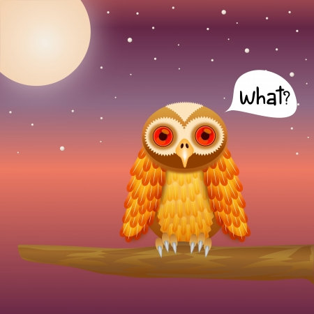 Cute Owl on night sky background with moon and star Vector