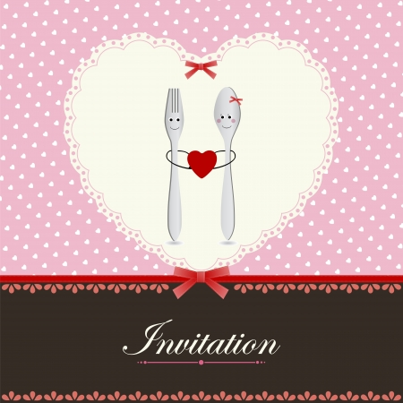 Greeting card or menu design with heart fork and spoon in love