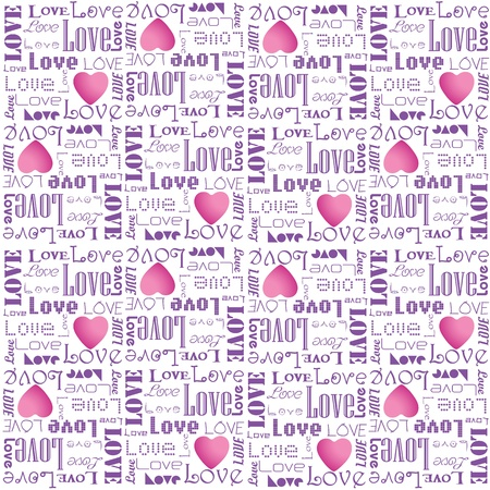 Eps 10 vector valentine pattern with purple color love text on white background