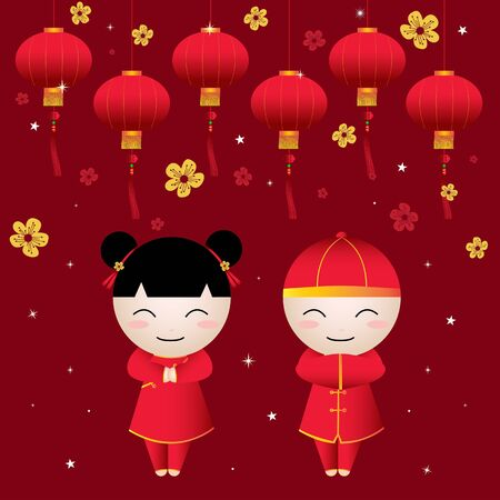 Chinese Girl-Boy Greetings card