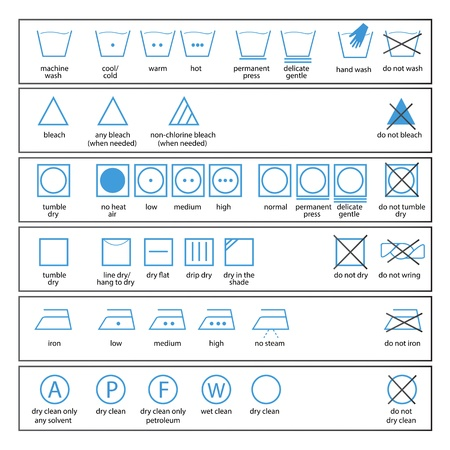 laundry line: icon set of washing signs and textile care label symbols