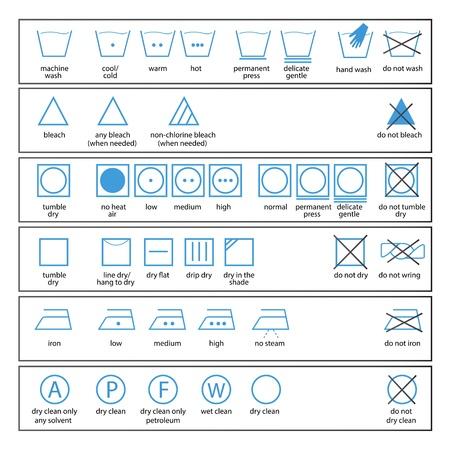 Très Blanchisserie Et Le Lavage Des Vêtements Symboles Avec Des Textes  BP83