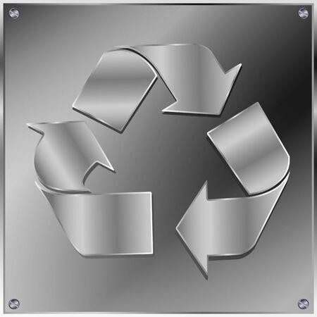 scrap metal: Metal recycle sign  Illustration