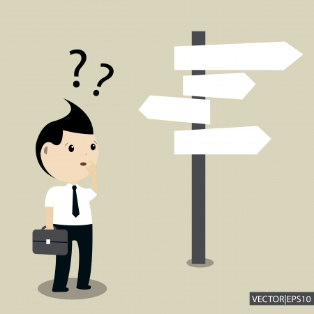 Businessman Making A Choice Vector