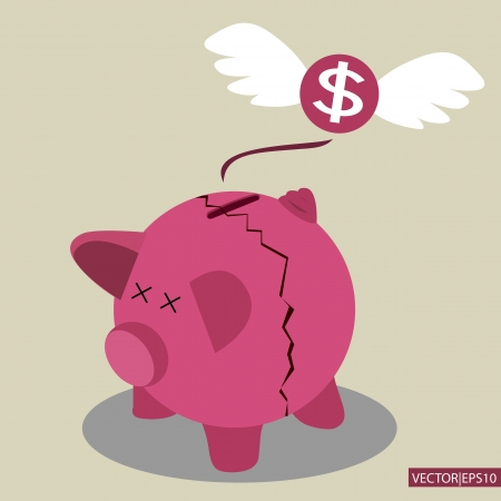 economic depression: Broken Piggy Bank concept for financial crisis or economic depression