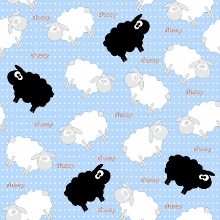 Cute White Sheep Seamless Pattern on Light Blue Background