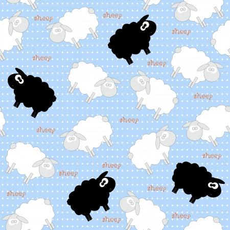 Cute White Sheep Seamless Pattern on Light Blue Background