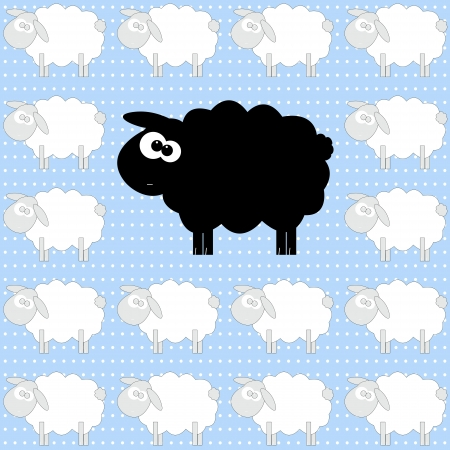 Funny cartoon sheep pattern, animal wallpaper concept, diversity concept,  illustration  Vector