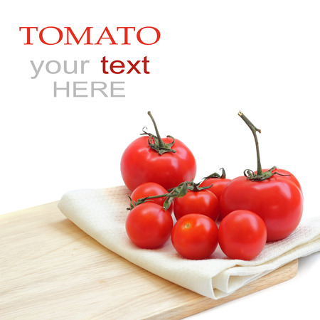 a tomato on chopping board  with sample text