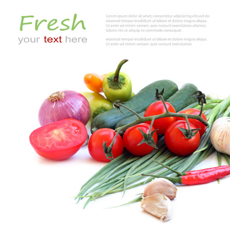 organic concept: fresh green vegetables on white background  with sample text  Stock Photo