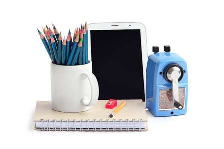 color pencil, notebook, tablet and other equipment  photo