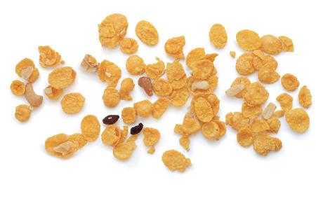 cornflakes: cornflakes, cereal on white  Stock Photo