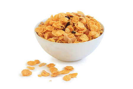 digest: cornflakes, cereal on white  Stock Photo