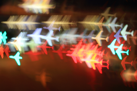 Colorful bokeh plane shape ,city  at night