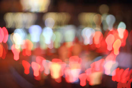 Colorful bokeh lightbulb shape ,city  at night