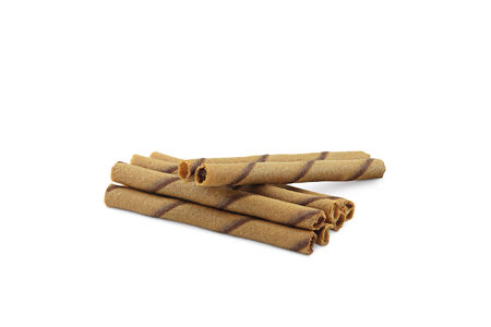 Striped wafer rolls filled with chocolate isolated on white photo