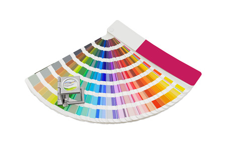 paint swatch: Magnifying glass standing on pantone pallete on a white background
