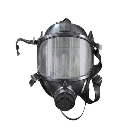 酸素マスク、防毒マスク、タイの消防士の消防士マスク。使用して白い背景の上の非常に古い分離プロセスを経てください。 写真素材
