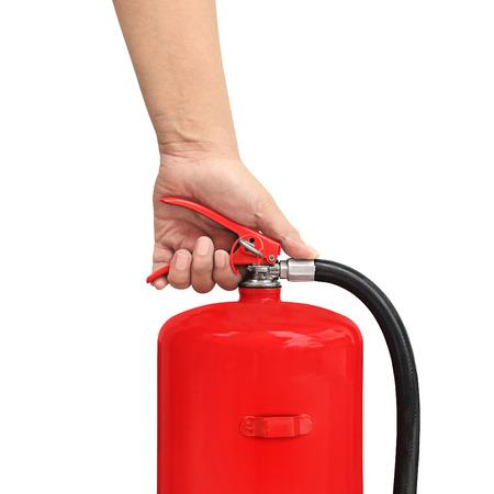 trigger: prensas mano el extintor gatillo Foto de archivo