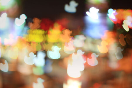 Colorful bokeh duck shape ,city  at night Stock Photo