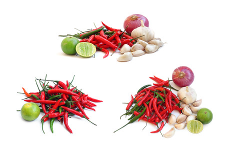 Group Fresh herbs and spices isolated on white background
