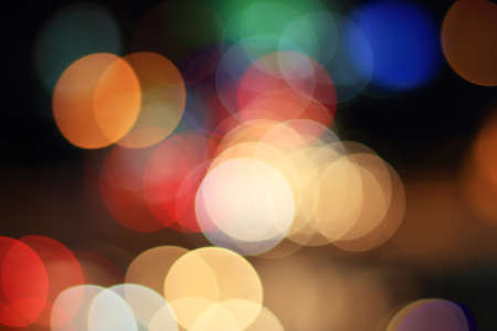 Colorful bokeh circular shape ,city  at night