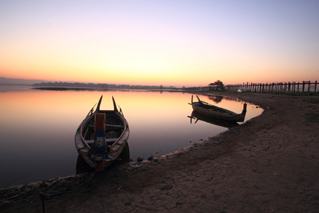 beautiful morning of marina at U-Bein bridge, Mandalay in Myanmar