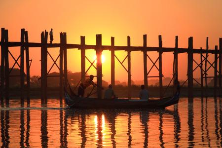 Silhouette of U bein bridge at sunset Amarapura ,Mandalay, Myanmar