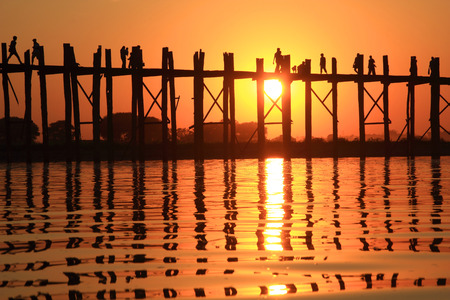Silhouette of U bein bridge at sunset Amarapura ,Mandalay, Myanmar