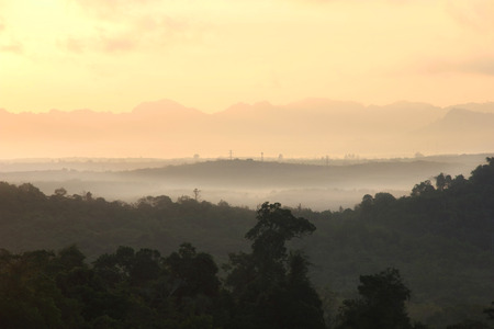 Morning mist and moutain At at Khaosok National Park, suratthani, Thailand