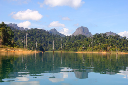 Beautiful reflecting island and sky at Khaosok National Park, suratthani, Thailand