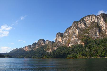 Lake with Perfect Sky at Khaosok National Park, suratthani, Thailand Stock Photo