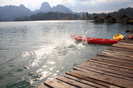 splashes left by people who dived from the pier on the lake at Khao Sok, suratthani, thailand