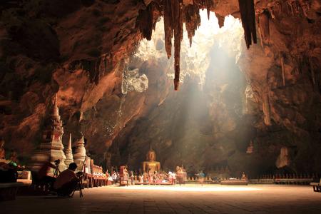 PHETCHABURI, THAILAND - JUNE 4,2013 Sun Light in the Temple Khao Luang cave Phetchaburi, THAILAND