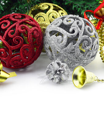 Christmas background with a silver and red ornament and decorations