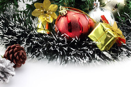 Christmas background with a red ornament and decorations