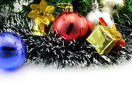 Christmas background with a red and blue ornament and decorations