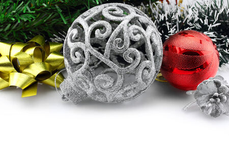 Christmas background with a silver ornament and decorations Stock Photo