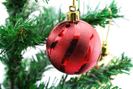 Christmas background with a red ornament Stock Photo