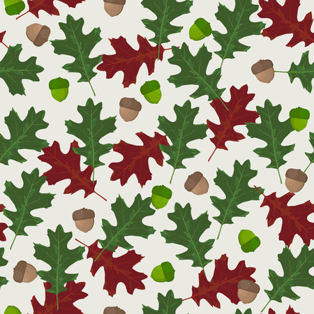 Seamless vector pattern with autumn leaves in seasonal colors. Oak leaf and acorn on white background - Vector