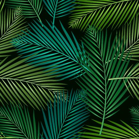 Modello senza cuciture con foglie tropicali: palme, monstera, fondo scuro del modello di foglia della giungla senza cuciture. Design botanico di costumi da bagno. Vettore. - Vettore Vettoriali