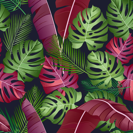 Seamless pattern with tropical leaves: palms, monstera, banana leaves, jungle leaf seamless vector pattern dark background. Swimwear botanical design. Vector. - Vector
