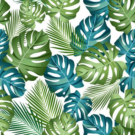 Modello senza cuciture con foglie tropicali: palme, monstera, fondo scuro del modello di foglia della giungla senza cuciture. Design botanico di costumi da bagno. Vettore. - Vettore