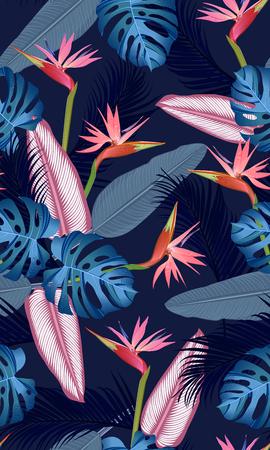 Hojas tropicales de patrones sin fisuras con ave del paraíso sobre fondo azul oscuro