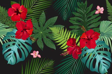 Foglie tropicali con motivo vettoriale senza soluzione di continuità con fiori di ibisco rosso e orchidea rosa su sfondo nero