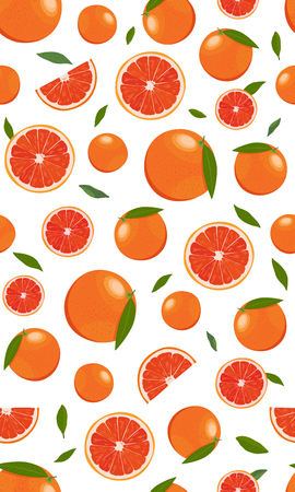 Seamless pattern orange fruits and slice with leaves on white background. Grapefruit vector illustration.
