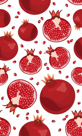 Seamless pattern pomegranate fruits and seeds on white background, Fresh organic food, Red ruby fruits pattern. Vector illustration.